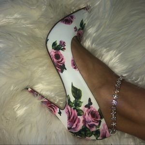 White Floral High Ankle Heel